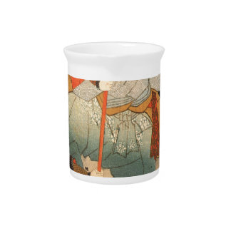 Samurai and the conquered by Utagawa Kuniyoshi Beverage Pitcher