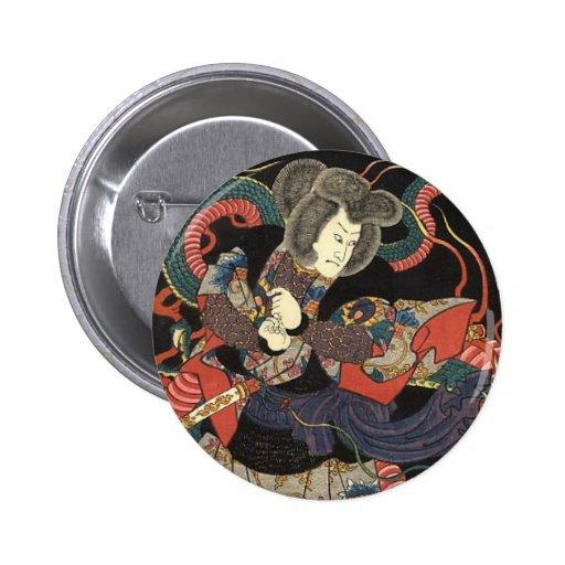 Samurai and the Red Dragon Pinback Button
