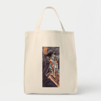 Samurai and Water Dragon Vintage Japanese Print Grocery Tote Bag
