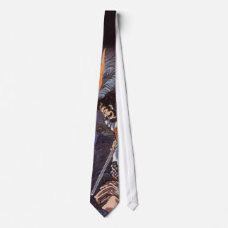 Samurai and Water Dragon Vintage Japanese Print Neck Tie
