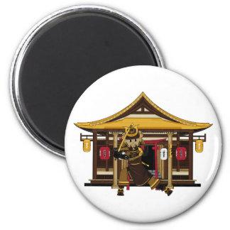 Samurai at Eastern Temple Magnet Refrigerator Magnet