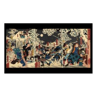 Samurai at war in the snow circa 1800's business card