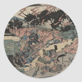 Samurai at War (intricately detailed) circa 1800s Classic Round Sticker