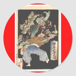 Samurai attacked by Tengu, Circa 1883 Classic Round Sticker