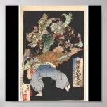 Samurai attacked by Tengu, Circa 1883 Poster