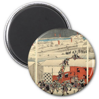 Samurai attacking at night in the snow circa 1860 2 inch round magnet