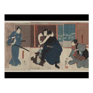 Samurai Attacking Enemy circa 1848 Japan Postcard