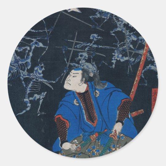 Samurai battles skeletons classic round sticker