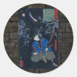 Samurai battles skeletons round sticker