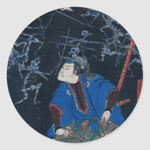Samurai battles skeletons stickers