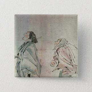 Samurai being followed by a servant pinback button
