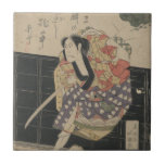 Samurai Breaking Through a Wall circa 1818 Ceramic Tiles