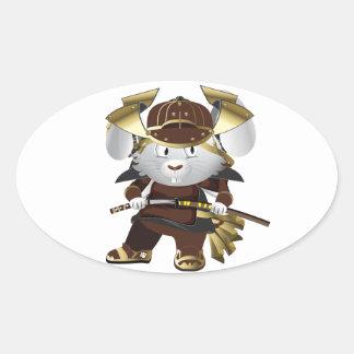 Samurai Bunny Oval Sticker