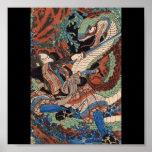 Samurai, C. de pintura japonesa 1800's Impresiones
