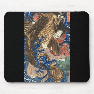 Samurai, C. de pintura japonesa 1800's Mouse Pad