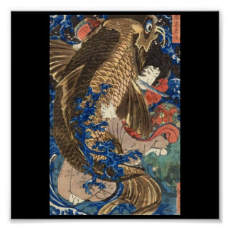 Samurai C. de pintura japonesa 1800's Póster
