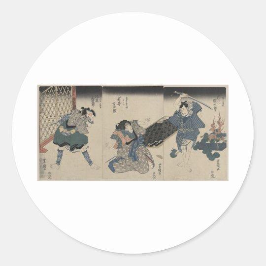 Samurai circa 1800s classic round sticker