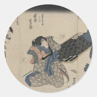 Samurai circa 1800s pegatinas redondas
