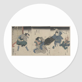 Samurai circa 1800s etiquetas redondas