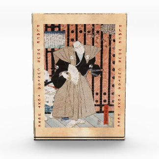 Samurai clásico del ukiyo-e del vintage con una fa