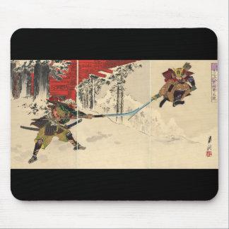 Samurai combat in the snow circa 1890 mousepad