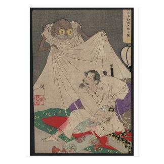 Samurai con arte japonés de la araña de la espada tarjetas postales