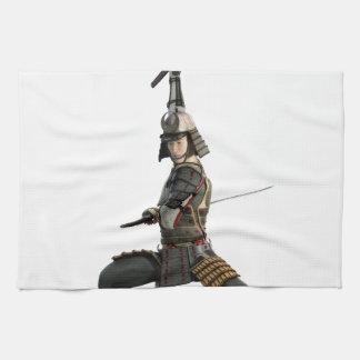 samurai con dos espadas que miran al frente toallas de cocina