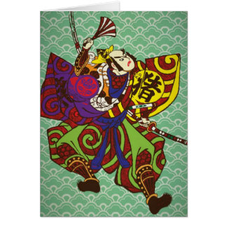 Samurai con estilo de la pintura de Japón del vint Tarjeta De Felicitación