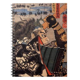 Samurai con la armadura hermosa del dragón libro de apuntes
