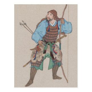Samurai con la postal del arco y de la espada