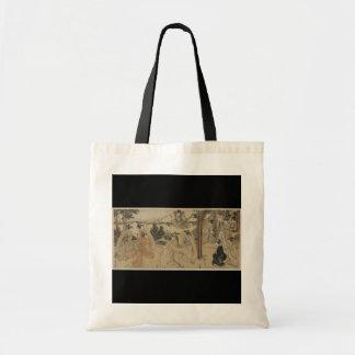 Samurai con las mujeres y el fondo c.1801 del mont bolsa de mano