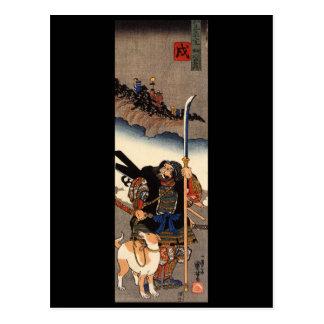 Samurai con su perro, circa 1800's tarjeta postal
