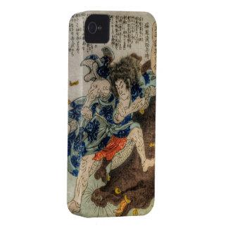 Samurai contra bestia mitológica iPhone 4 Case-Mate coberturas