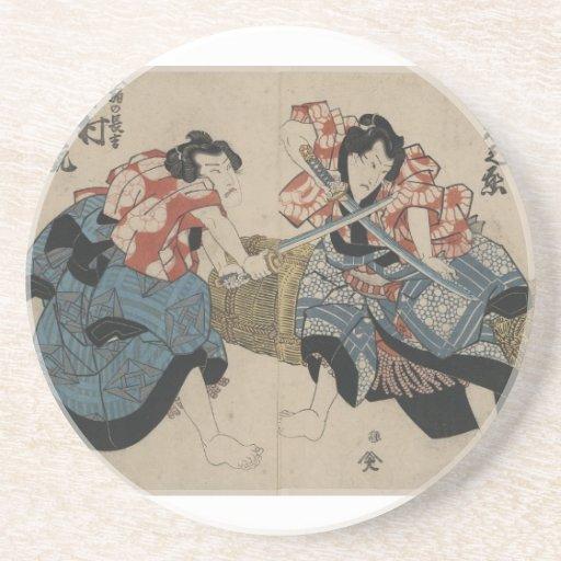 Samurai Crossing Swords circa 1825 Beverage Coaster