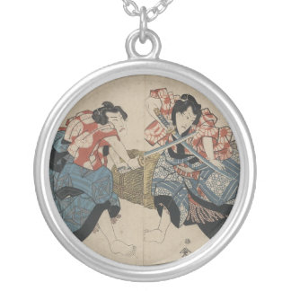 Samurai Crossing Swords circa 1825 Round Pendant Necklace