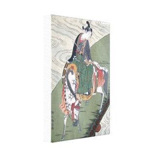 Samurai de la lona en la impresión de Woodblock de Impresion De Lienzo