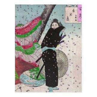 Samurai de la nieve tarjeta postal