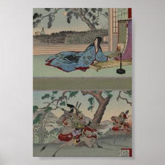 Samurai de sexo femenino circa 1800s póster
