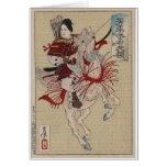 Samurai de sexo femenino en caballo en armadura ci tarjeta de felicitación
