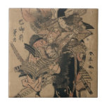 Samurai de sexo femenino potente que derrota al sa azulejo cuadrado pequeño