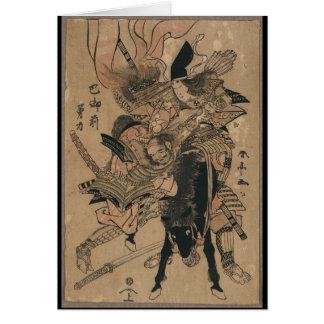 Samurai de sexo femenino potente que derrota al sa tarjeta de felicitación