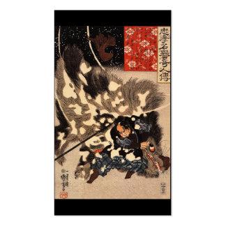 Samurai defeating giant boar c. 1800's business card templates