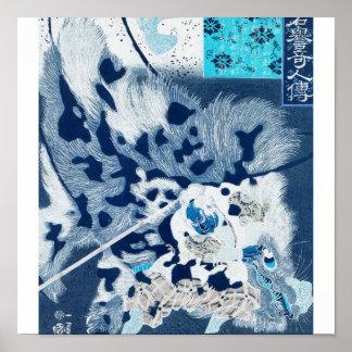 Samurai defeating giant boar c. 1800's. Japan. Poster