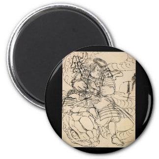Samurai defeating serpent c. 1800's 2 inch round magnet