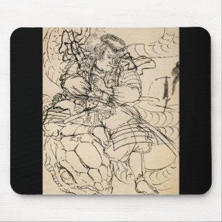 Samurai defeating serpent c. 1800's mouse pad
