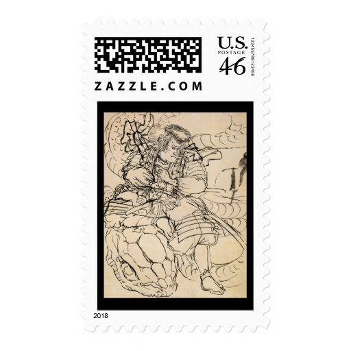 Samurai defeating serpent c. 1800's postage stamps