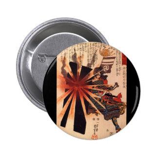 Samurai defending against exploding shell pinback buttons