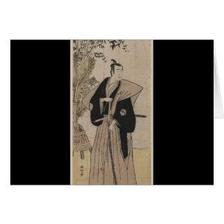 Samurai del vintage con el bambú circa 1700s tarjeton