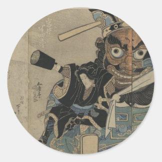 Samurai del vintage con una antorcha circa 1825 pegatina redonda