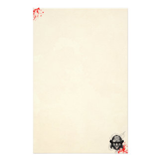 samurai demon mask helm tattoo blood old paper